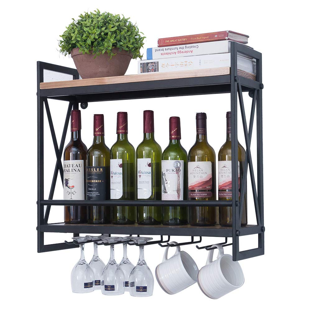 Industrial Wine Racks Wall Mounted with 5 Stem Glass Holder,23.6in Rustic Metal Hanging Wine Holder,2-Tiers Wall Mount Bottle Holder,Wood Shelves Wall Shelf Kitchen/Living Room/Home Decor