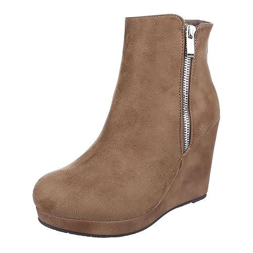 Ital-Design Keilstiefeletten Damen Schuhe Plateau Keilabsatz/Wedge Leicht Gefütterte Reißverschluss Stiefeletten