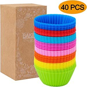 HEHALI 40pcs Silicone Muffin Molds Cupcake Baking Cups Pans Liners, 8 Colors