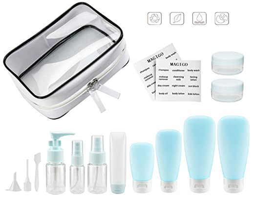 MAGIGO Blue Toiletries Leak Proof Travel Bottle Set (16 Pack), TSA Approved Airline Carry-On with Clear Bags for Women