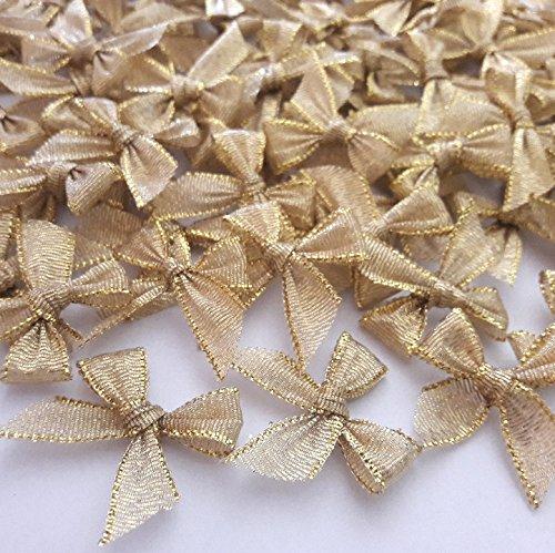 (100 Pcs Mini Gold Ribbon Bows Crafts Party Decoration)