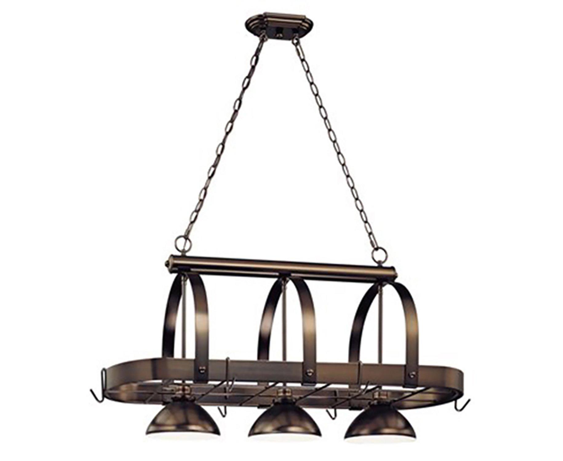 Volume Lighting V3023-79 3 Light Antique Bronze Pot Rack