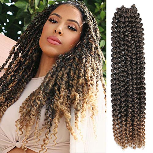 (7 Pacs Passion Twist Hair 18 Inch Water Wave Braiding Hair Ombre Long Bohemian Braids for Passion Twist Crochet Hair Hot Water Setting Synthetic Natural Braid Hair (18 Inch, 1B-27))