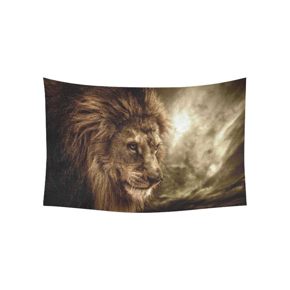 InterestPrint Animal Wall Art Home Decor, Brown Fierce Lion Against Stormy Sky Tapestry Wall Hanging Art Sets 60 X 40 Inches