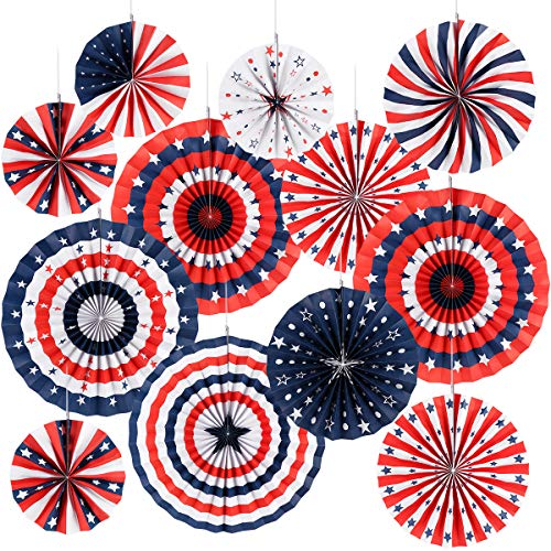 4th of July Decorations Paper Fan for Patriotic Decorations, Independence Day Party Supplies - 12 -
