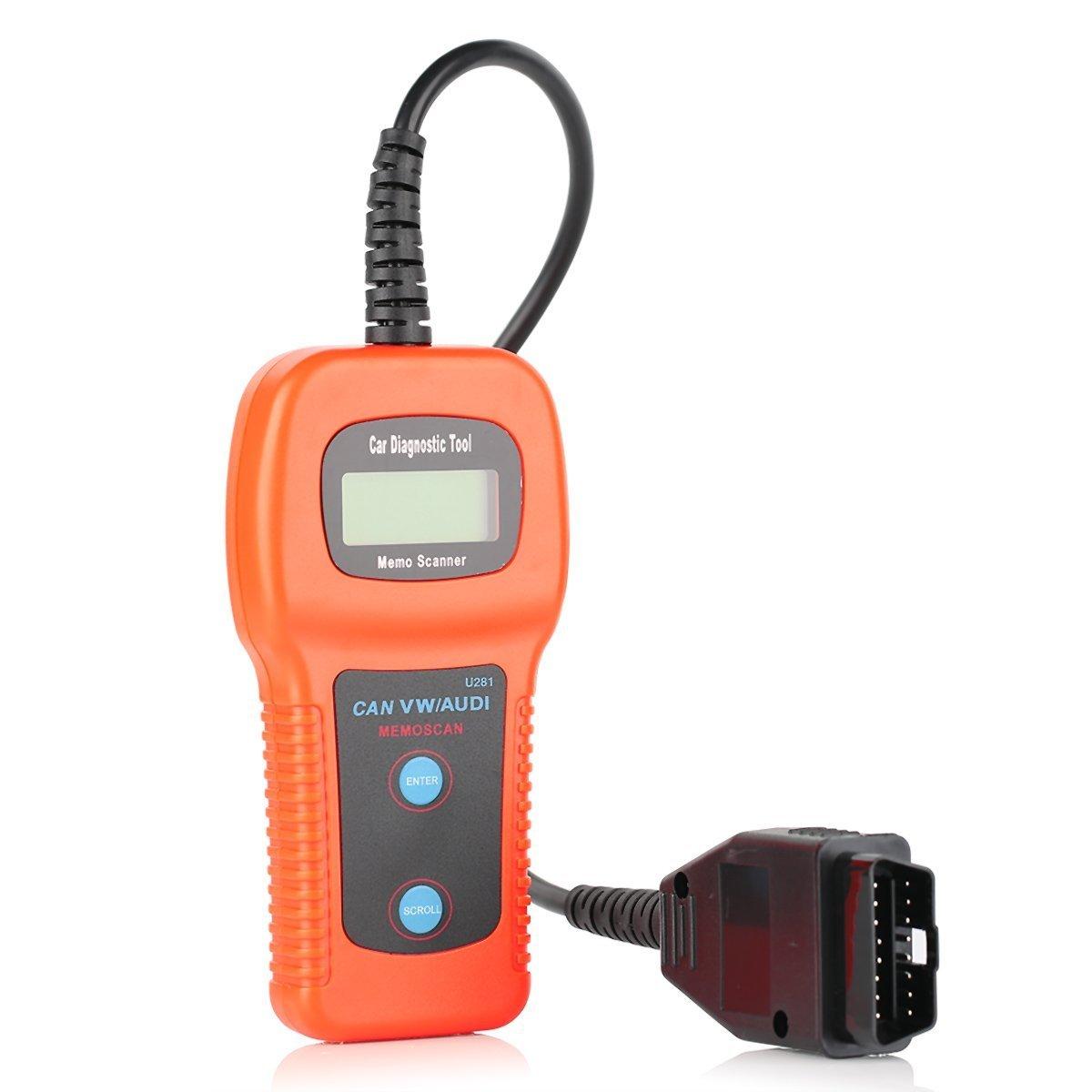 Xtool U281 CAN BUS OBD2 Code Reader Auto Diagnostics Scan Tool for Vw Audi Seat Skoda Vehicles - Orange