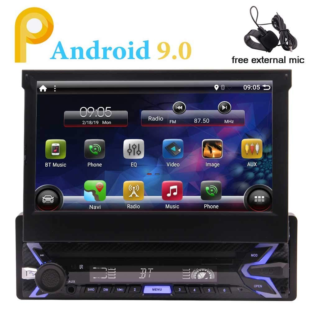 EINCAR Single DIN In Dash Android 9.0 Pie System 1G+16G Quad Core Car Stereo Head Unit with 7 inch Flip Out Touch Screen Monitor Support GPS,Bluetooth,WiFi,Microphone,USB,SD