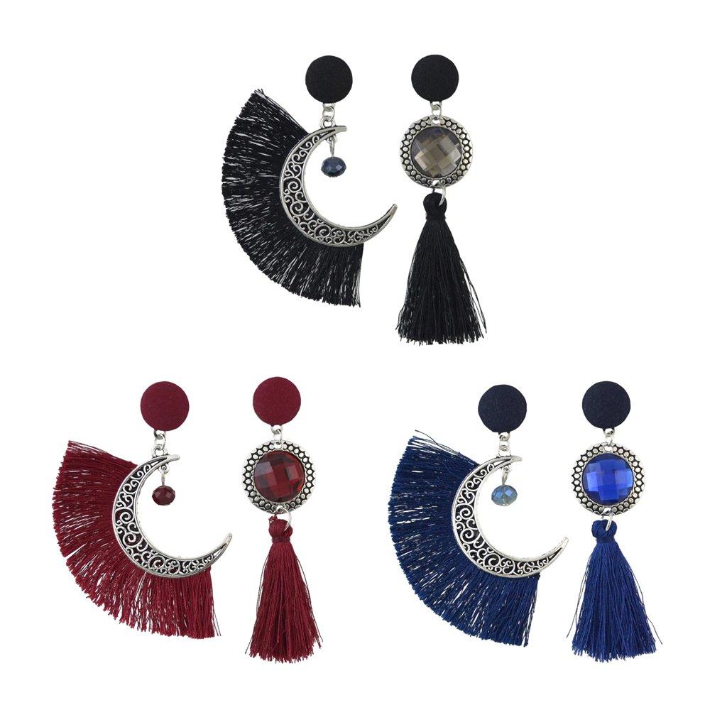 Negro // Azul // Rojo Homyl Pendientes Asim/étrico de Par/ón Luna con Borlas para Mujer Rojo
