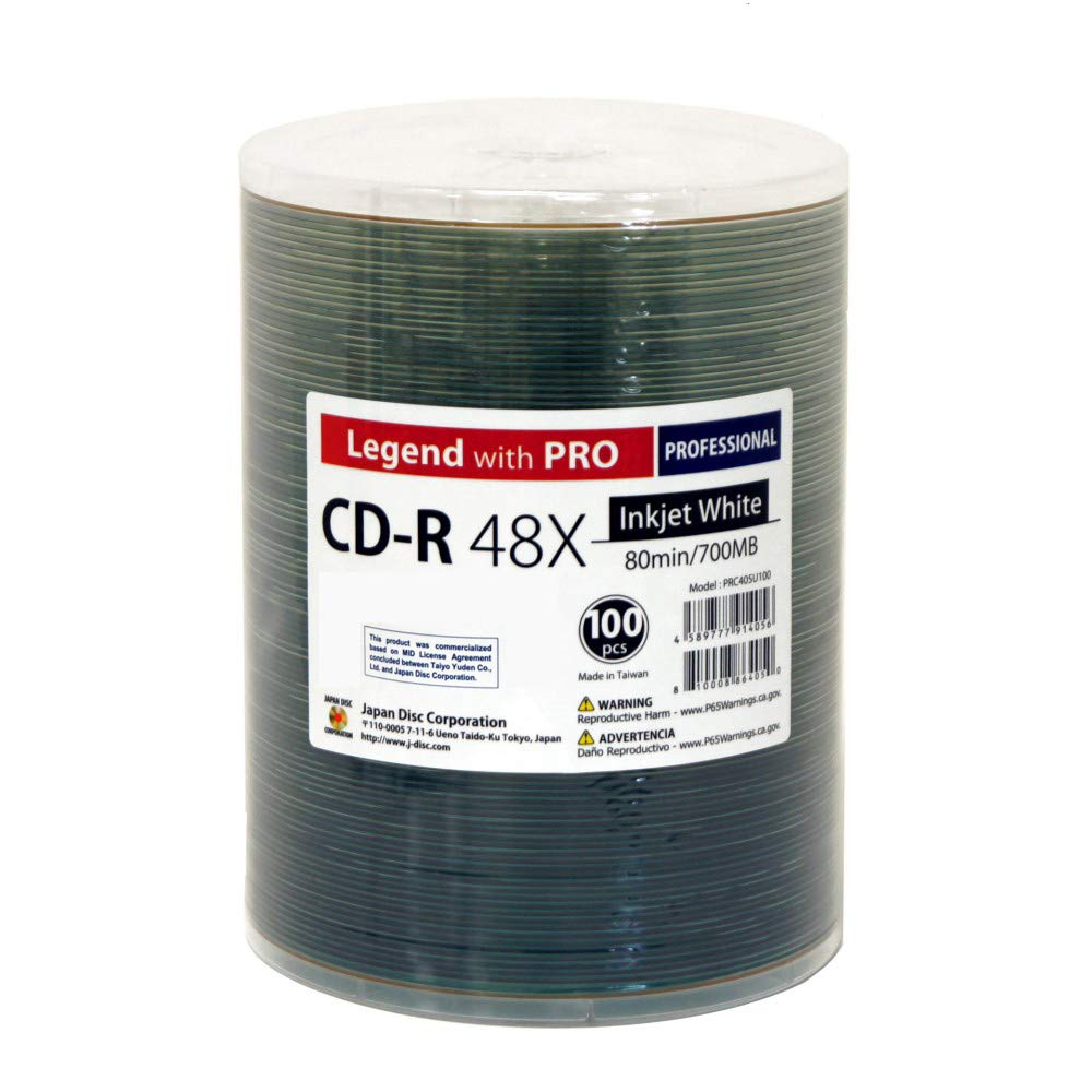 100 Pack CD-R Legend with PRO TY-JDC 48X 700MB 80Min (MID 97m24s01f) White Inkjet Hub Printable Blank Recordable Disc