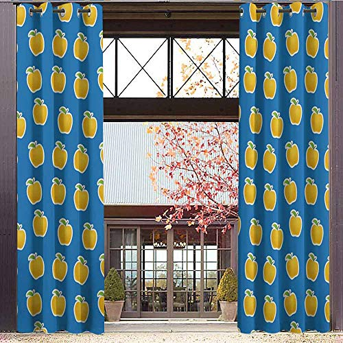 hengshu Apple Blackout Curtains - Gasket Insulation Yellow Clipart Apples on Blue Background Delicious Vegetarian Food Vitamins Blackout Curtains for The Living Room W72 x L108 Inch Blue Green Yellow]()