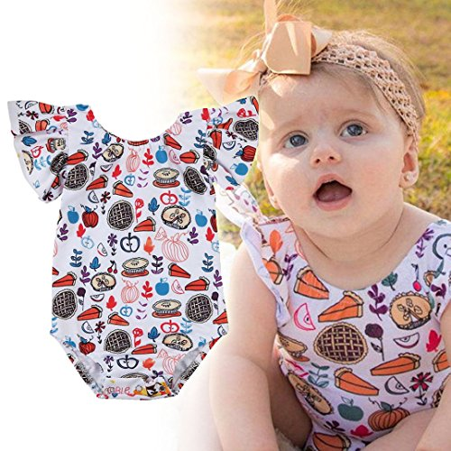 Newborn Infant Baby Girls Thanksgiving Clothes Romper, TRENDINAO Kids Toddler Girls Thanksgiving Romper Sunsuit Outfits Clothes