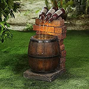 JZENZERO Outdoor Water Fountain Statue - Resin Wine Bottle and Barrel for Rustic Yard & Garden Waterfall Decoration (A)