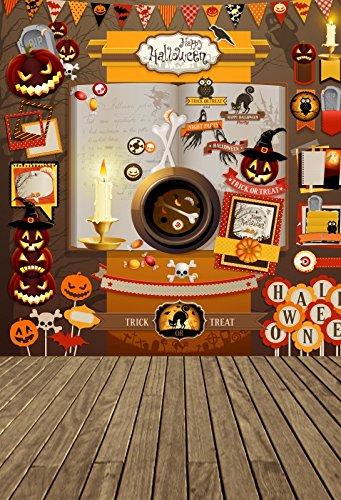 Laeacco Happy Halloween Background 5x7ft Vinyl Photography Backdrop Cartoon Halloween Decoration Candle Bone Plate Children Trick or Treat Flag Pumpkin Girmace Lantern Table Decor Wood Floor (How Do You Make A Halloween Ghost)