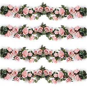 Mikash 4PCS(28.8 FT) Artificial Rose Vines Fake Silk Flowers Rose Garlands Hanging Rose Ivy Plants for Wedding Home Office Arch Arrangement Tion (Pink) | | Model WDDNG - 655 113