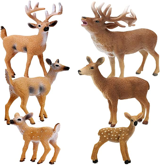 Small Woodland Animals Set o RESTCLOUD Deer Figurines Cake Toppers Toys Figure