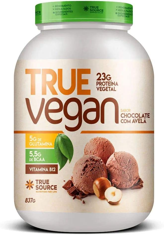 True Vegan Chocolate com Avelã Proteína Vegana 837g - True Source