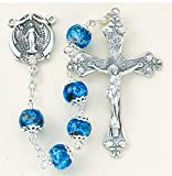 The Finest Sterling Silver Rosaries, Sterling Silver Centerpiece and Crucifix with Rhodium Plated Brass Findings, 8mm Blue Marble Double Capped Glass Beads with Sterling Silver Miraculous Center and 2'' Sterling Crucifix