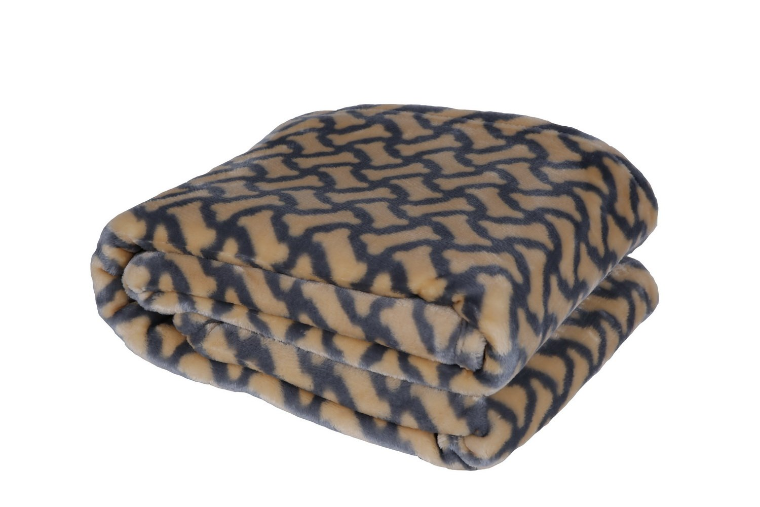 HappyCare Textiles 047393528940 Printed dog paw Flannel throw blanket, Taupe