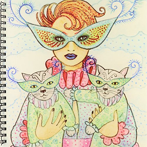 3dRose db_23284_1 Cats Cats in Masks Cats in Costume Masquerade Party Masks Two Cats Woman in Costume Drawing Book, 8 by 8-Inch