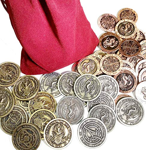 Fantasy World Coin Set in a Burgundy Bag (Set of 50) (Bulk World In Coins)