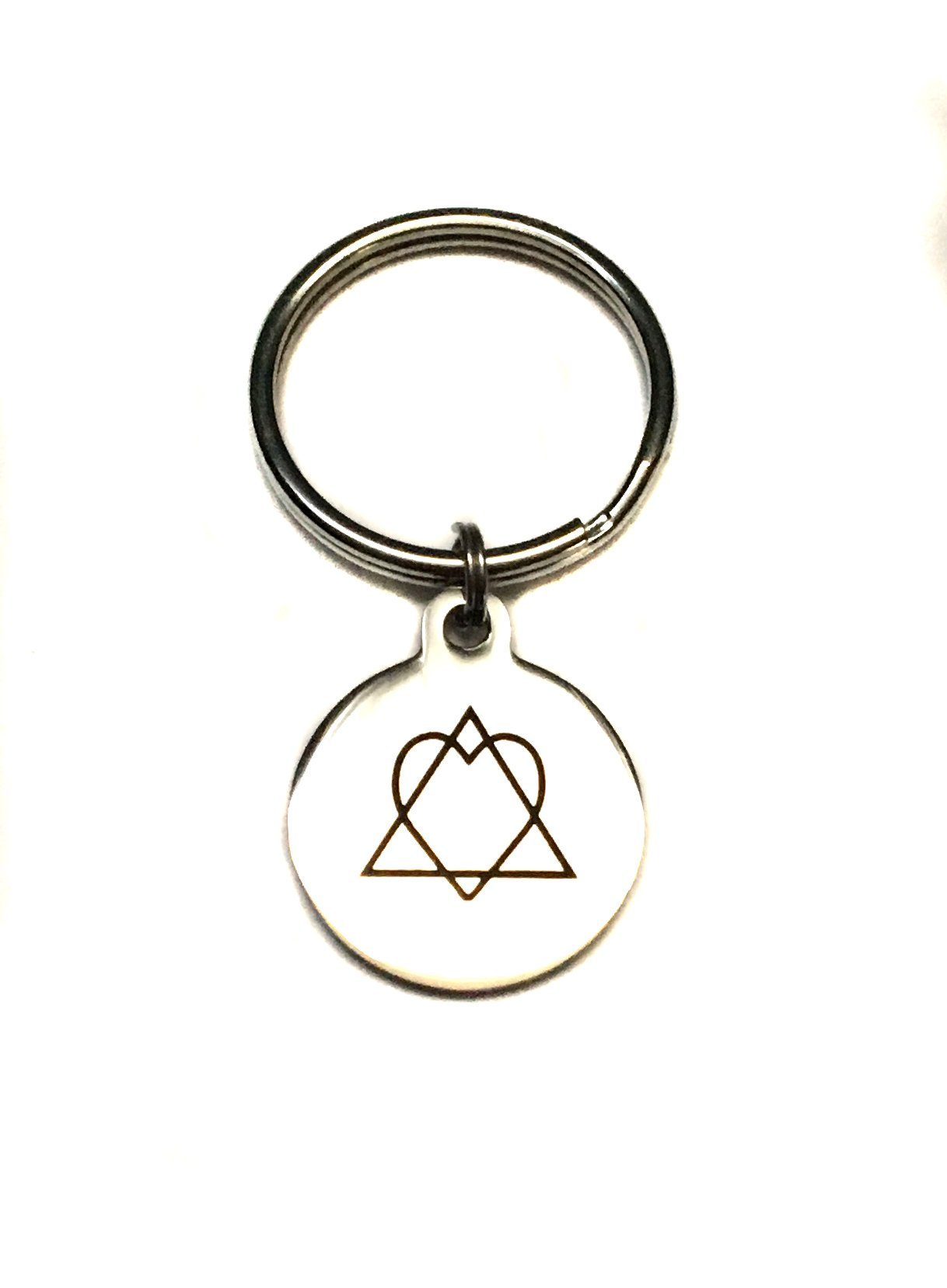Stainless Steel Intertwined Heart and Triangle Adoption Symbol Charm Keychain, Bag Charm Gift