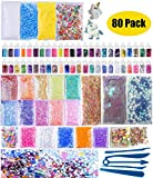 80 Pack Slime Making Kits Supplies, Slime Stuff Foam Balls, Fishbowl Beads, Glitter, Fruit Slices, Pearls, Sugar Papers, Slime Containers for DIY Slime Making Kit, Slime Party, Wedding Decoration