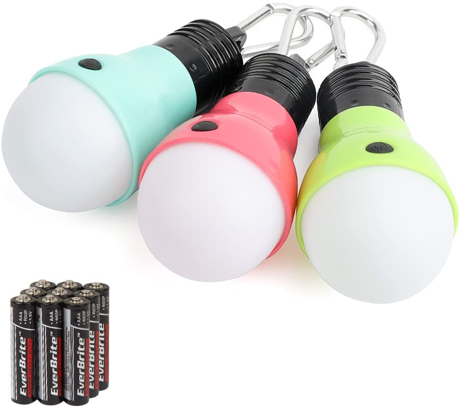 EverBrite 3-Pack Camping Lights – 3 Lighting Modes, Portable LED Bulbs Ideal for Kids Adventure Activities, Backpacking, Camping, Picnic, Emergency and More, 3 x AAA Batteries Included