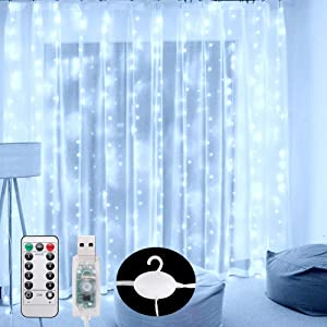 Curtain Lights 300 LED Wall Fairy Lights 9.8Ftx9.8Ft USB Remote Powered String Lights IP64 Waterproof Window Room Bedroom Wedding Christmas LED Waterfall Decorations Lights