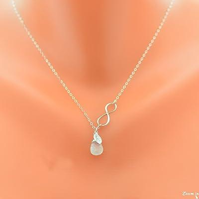 Rainbow Moonstone necklace, June birthstone infinity neckalce with initial, persanalized infinity gemstone and initial, custom handmade jewelry with any birthstone