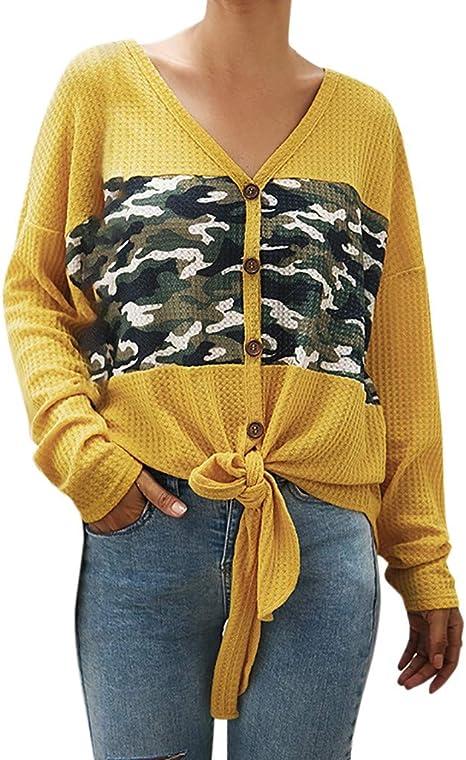 Camisas de Mujer Camisa con Botones para Mujer Camiseta Camuflaje Mujer Blusa Suelta Casual de Manga Larga con Cuello en V Manga Larga para Mujer Camisa de poliéster LiNaoNa: Amazon.es: Ropa y