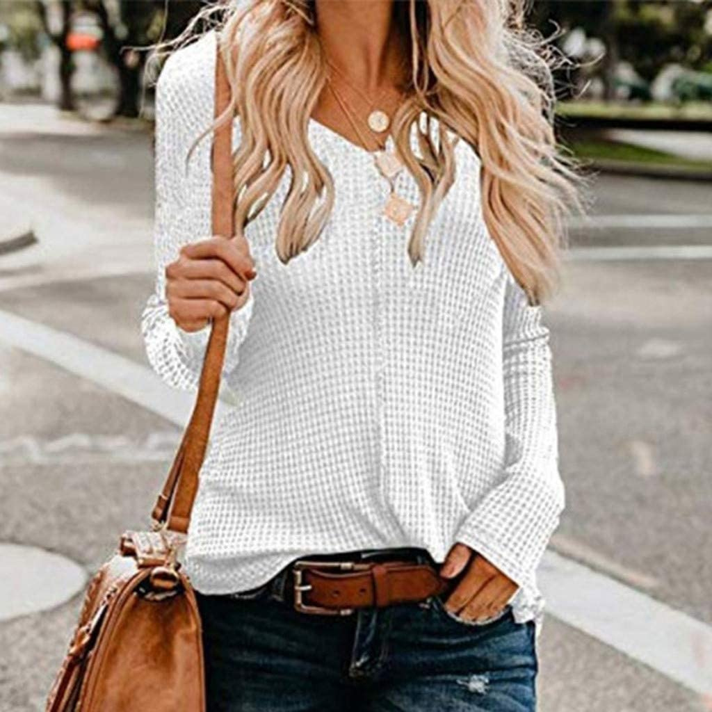 LOOKAA Womens Shirt Trend Sweater V-Neck Solid Color Long-Sleeved Sweatshirt Tops Blouses