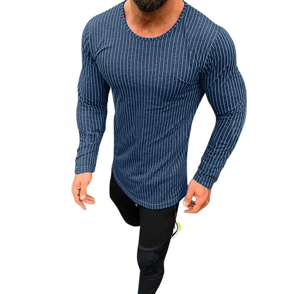 【人気商品】 メンズ トップス クリアランス ファッション メンズ カジュアル スプリングストライプ 長袖 S Oネック Tシャツ メンズ トップス ブラウス Tシャツ S FIGHTING S ブルー B07NP7YHW3, TOPPIN:1a03925b --- yelica.com