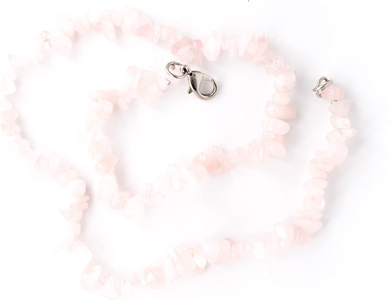 Tadd Art Minerals–Color Rosa Splitter Collar de la piedra preciosa cuarzo rosa natural con 45cm de longitud–Hecha a mano