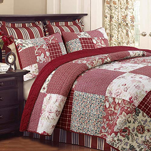 Cozy Line Home Fashions Eleanor Quilt Set, Red Rose Real Patchwork 100% Cotton Reversible Coverlet Bedspread, Wedding Anniversary Romantic Home Decor for Bedding Bedroom(Red Floral, King - 3 Piece)