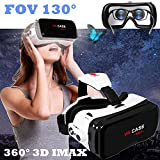 """VR Glasses/Headset, Virtual Reality Goggles[FOV 130] 3D IMAX Movie Game Viewer with Remote Controller for Samsung S8 S7 S6 iPhone X 8 7 Plus & Other 4.7-6.0"""" Smartphone - Eye Glasses Compatible"""