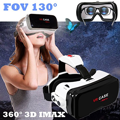 "VR Glasses/Headset, Virtual Reality Goggles[FOV 130] 3D IMAX Movie Game Viewer with Remote Controller for Samsung S8 S7 S6 iPhone X 8 7 Plus & Other 4.7-6.0"" Smartphone - Eye Glasses Compatible"