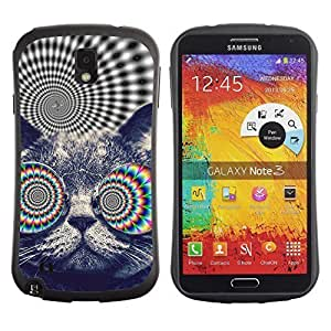 Hybrid Anti-Shock Bumper Case for Samsung Galaxy Note 3 / Psychedelice Cat