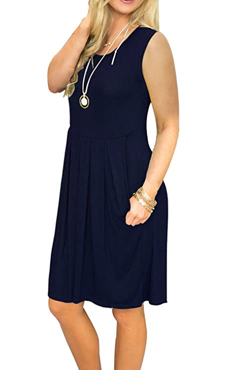 18f6d50a1e2 JOSIFER Womens Cute Casual Summer Aline Dresses Tshirt Swing Beach Dress  for Women Knee Length Sundress Elegant Navy