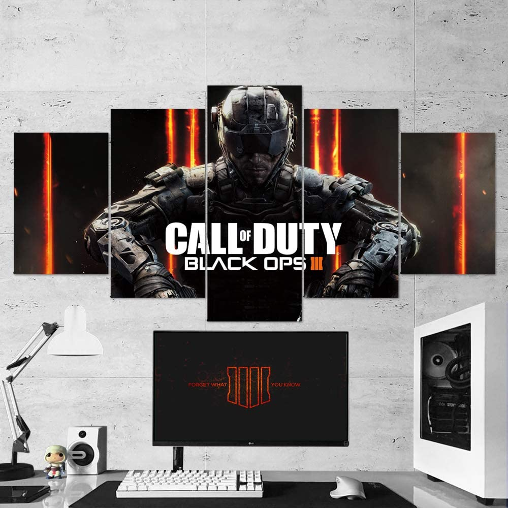 Call Of Duty Wall Art Call Of Duty Black Ops 5 Piece Canvas Wall Art Gaming Canvas Call Of Duty Wall Decor 04 Framed Ready To Hang Call Of Duty
