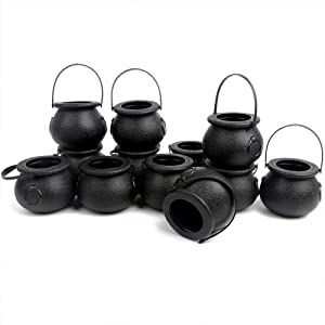 CCINEE Black Cauldron with Handle,Mini Plastic Candy Kettle Bucket for St.Patrick's Day,Halloween Party Favor,Pack of 12