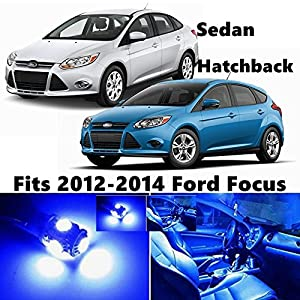 autospeed 6 pieces premium blue led lights interior package kit for for 2012 2014 ford focus sedan or hatchback