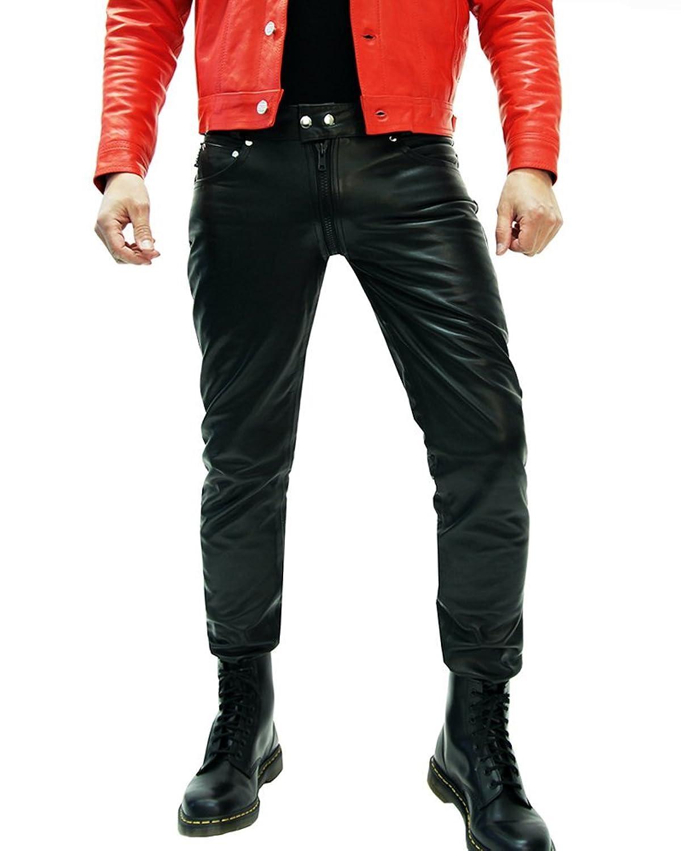 Bockle? 1991 G-Zip Black Men's Leather Pants Zip Through