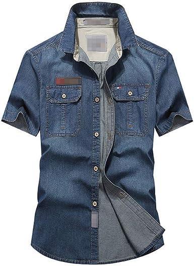 Camisa Vaquera Hombre Pecho Bolsillo con Botones Manga Casual: Amazon.es: Ropa y accesorios