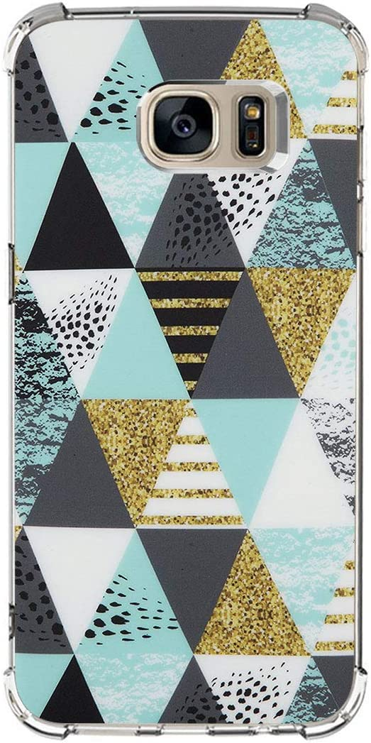 Carcasa Compatible with Samsung Galaxy S7 Edge Funda,Ultra Delgada Silicona TPU Caso Mármol Geometric Patterns Flexible Cubierta Suave a Prueba de choques Case Cover para Teléfono Galaxy S7 Edge