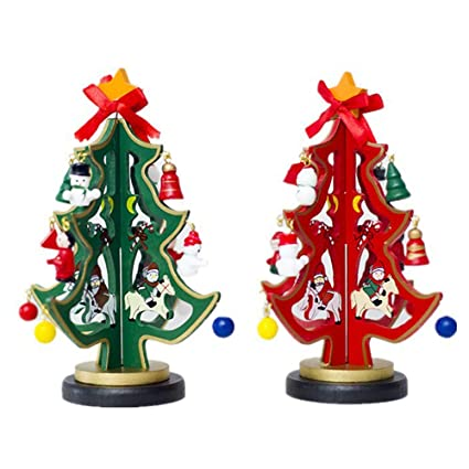 2 pack tabletop christmas tree giveme5 wooden desk tree with miniature christmas ornaments diy