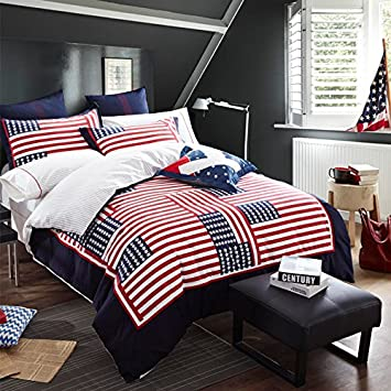 FADFAY Home Textile American Flag Bedding Set USA Flag Bedding Set Unique Designer Bedding Sets Cotton