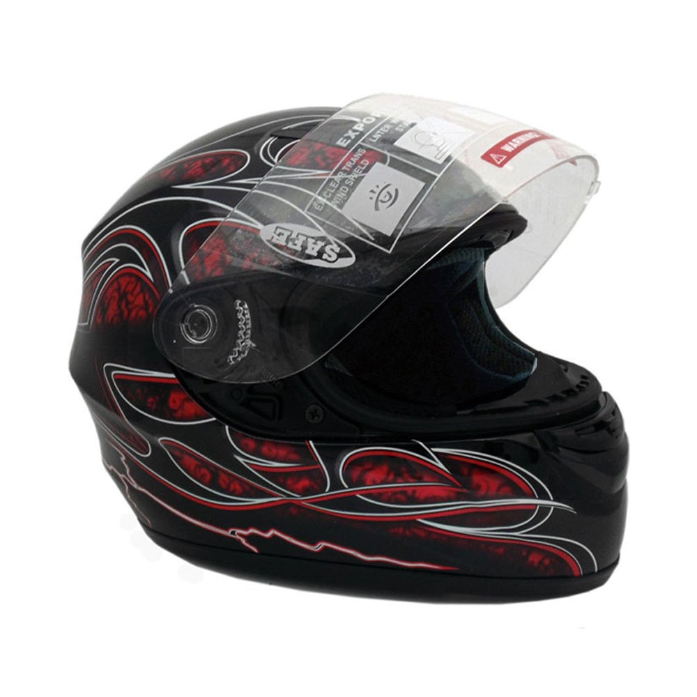 Motorcycle Full Face Helmet DOT Street Legal +2 Visors Comes with Clear Shield and Free Smoked Shield (L, Red)