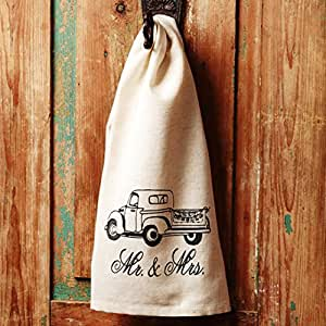 Vintage Truck Mr. and Mrs. 19 x 28 inch Flax Linen Fabric Decorative Hand Towel
