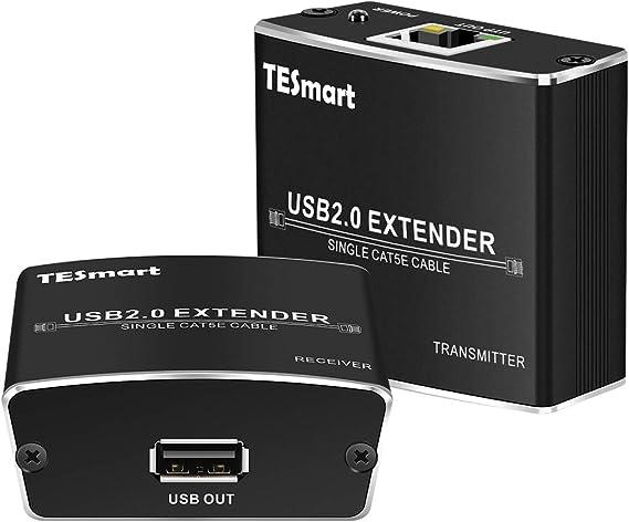 TESmart USB2.0 Extender 100 Metros sobre Señales USB Cable Cat-5/5e/6 a Velocidad de Datos de Alta Velocidad (480Mb/s): Amazon.es: Electrónica