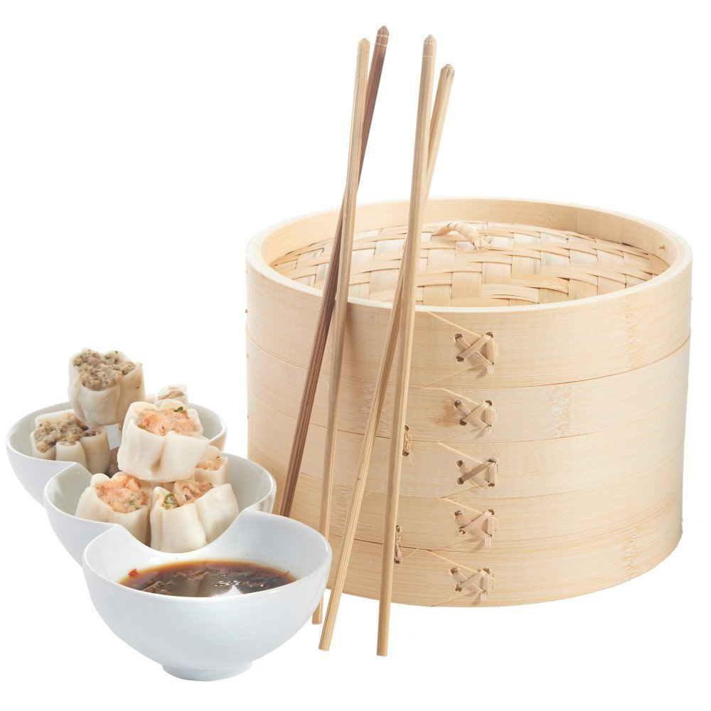 Frideko 5.3 inch 2-Tier Kitchen Kitchen Bamboo Steamer Set - Basket and Lid for cooking healthfully